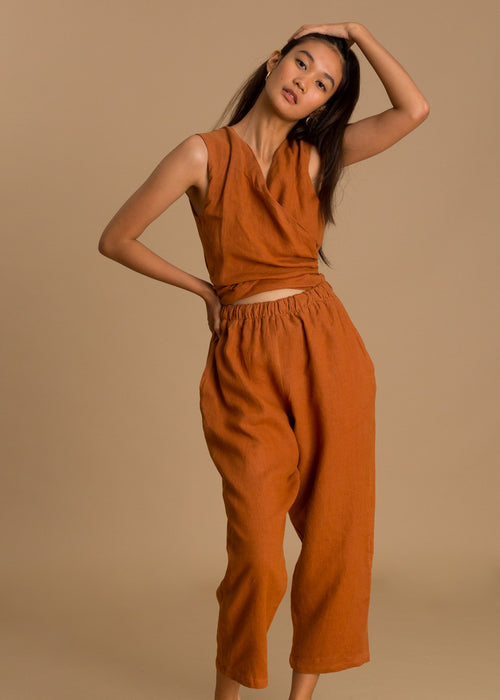Orange sleeveless linen jumpsuit