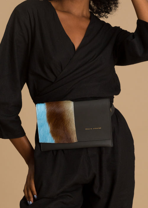 Leather springbok fur belt bag
