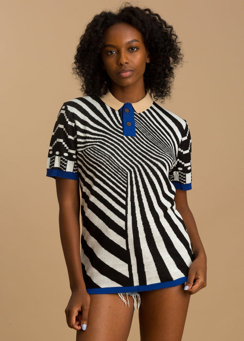 Printed white and black stipe short sleeve polo shirt
