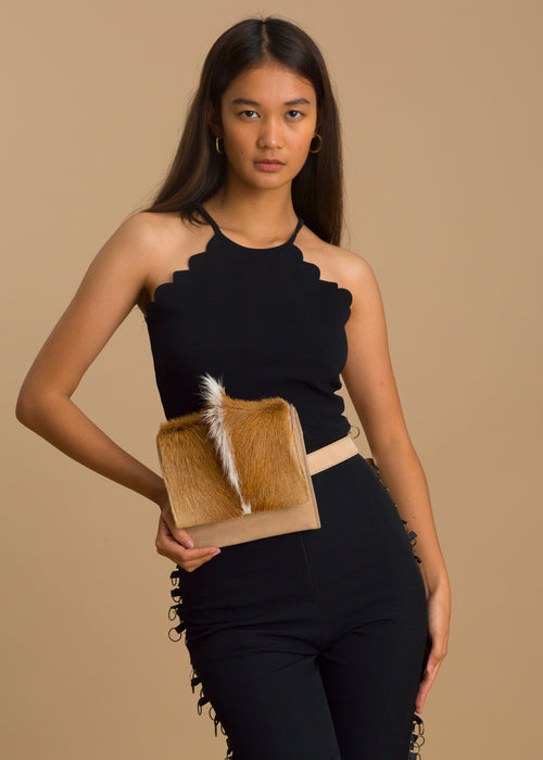 Springbok Fur Leather Belt Bag