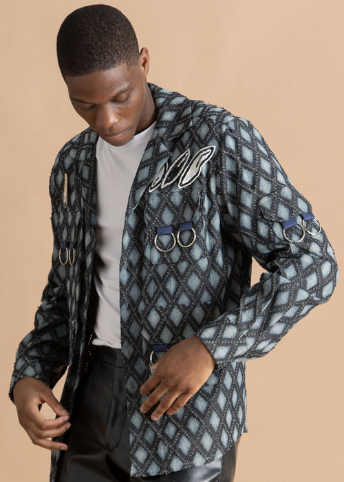 Nicholas Coutts gray blue pattern jacket