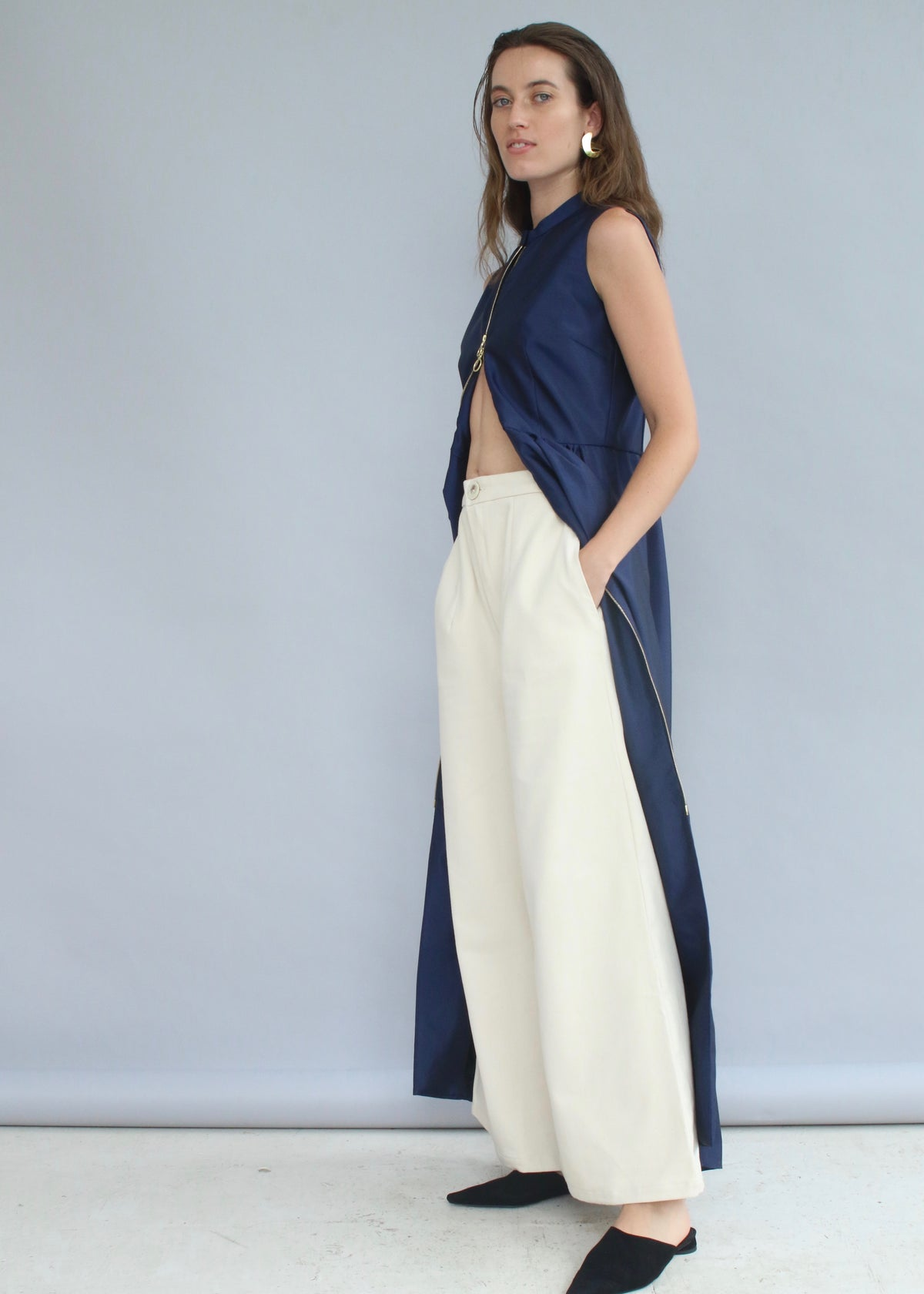 White handmade bell shape Denim Wide Leg Top-Stitch Pants ankle-cut from Selfi