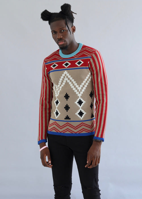 Red and beige wool printed sweater with round neckline from MaXhosa by Laduma