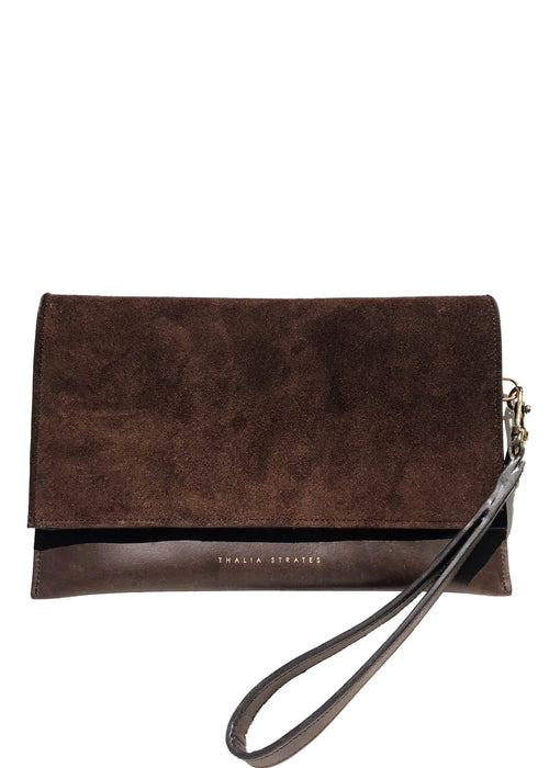 Thalia Strates leather suede clutch beltbag