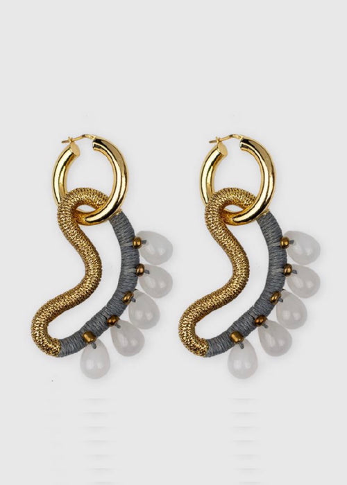 Pichulik rope, jadestone, and gold hoops