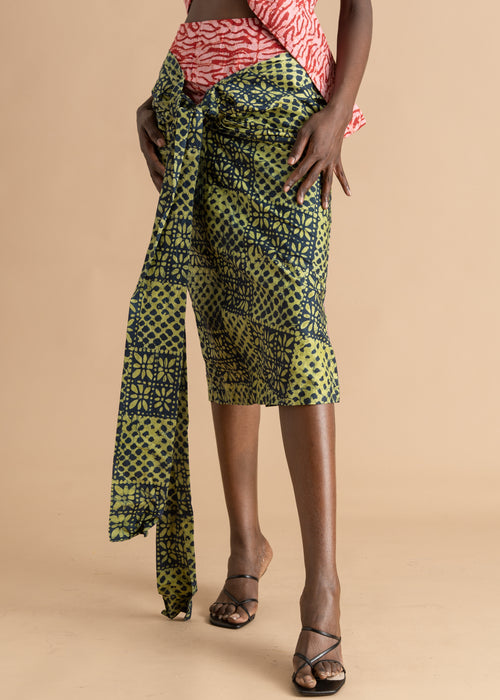 Mix Print Adire Pencil Skirt