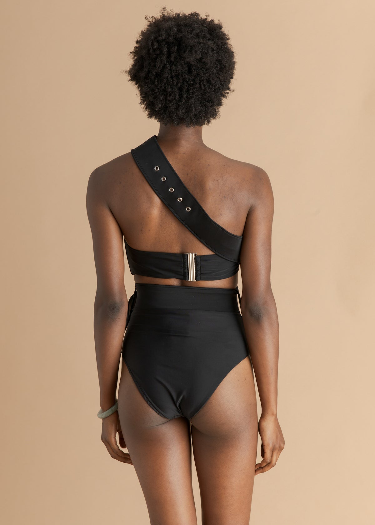 Black one shoulder Andrea Iyamah swimsuit