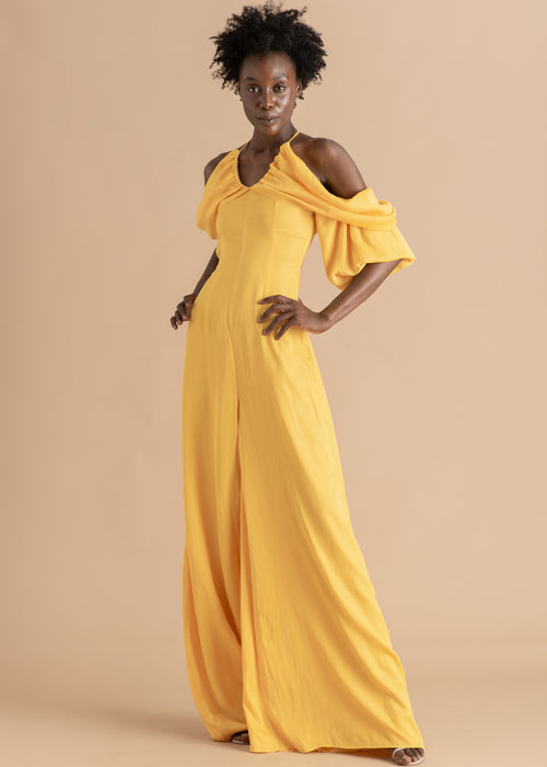 Yellow chiffon off the shoulder Andrea Iyamah jumpsuit