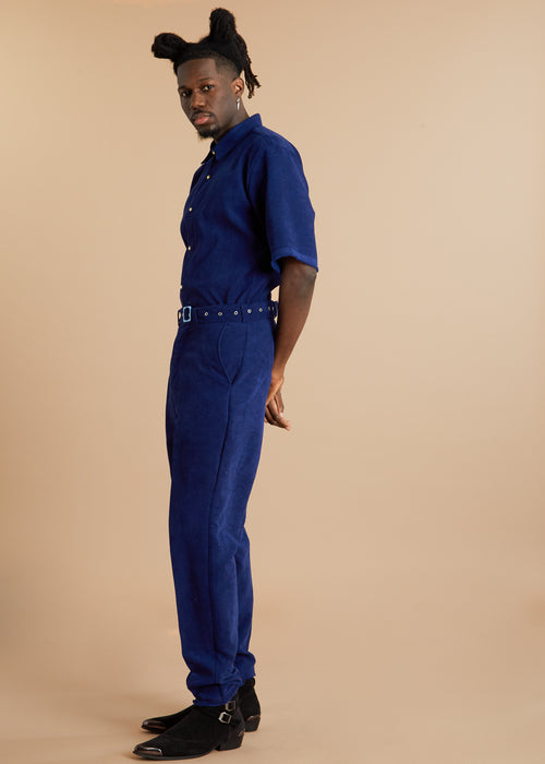 Short sleeve blue suede jumpsuit