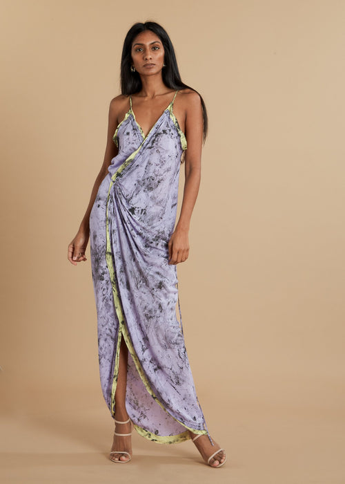 Hand Dyed Purple Camisole Wrap Dress