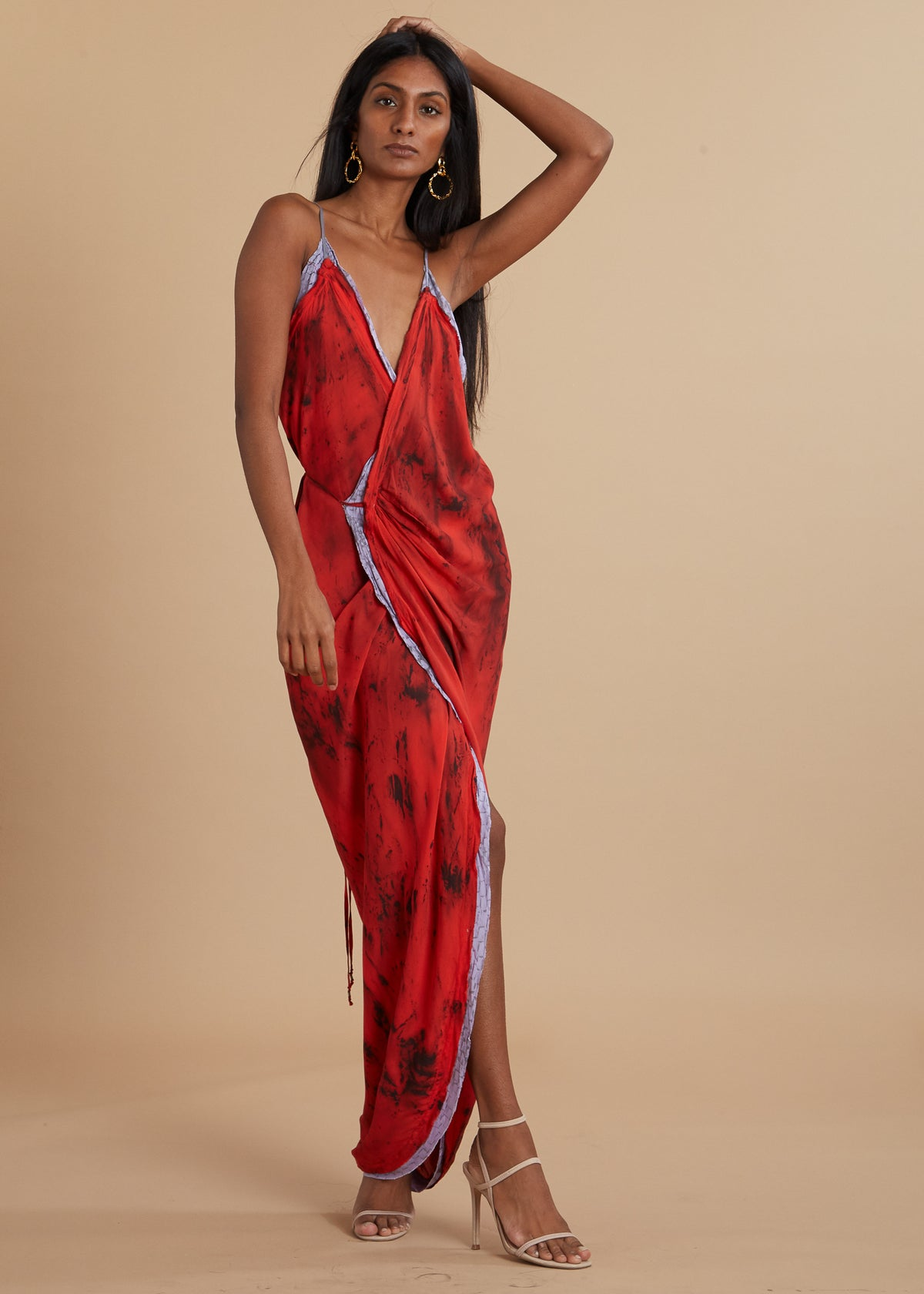 Hand Dyed Red Camisole Wrap Dress