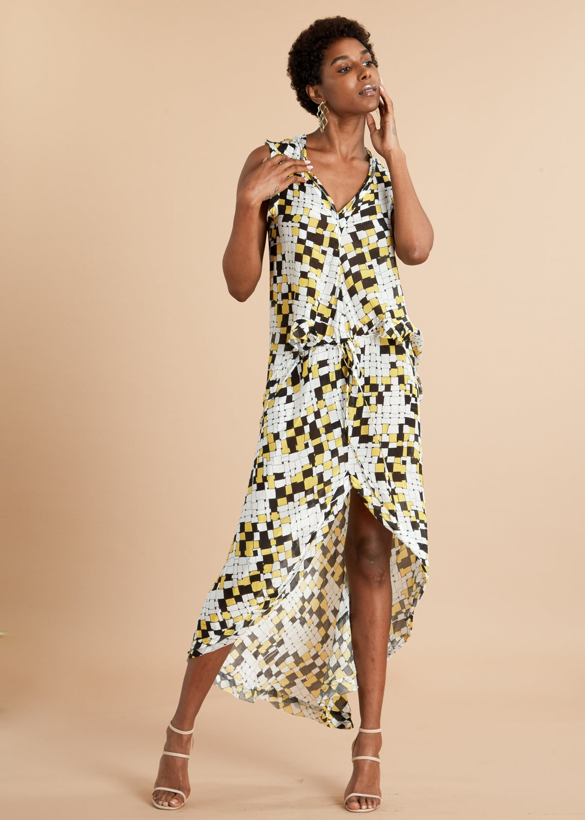Yellow and black checkered tank top silk dress