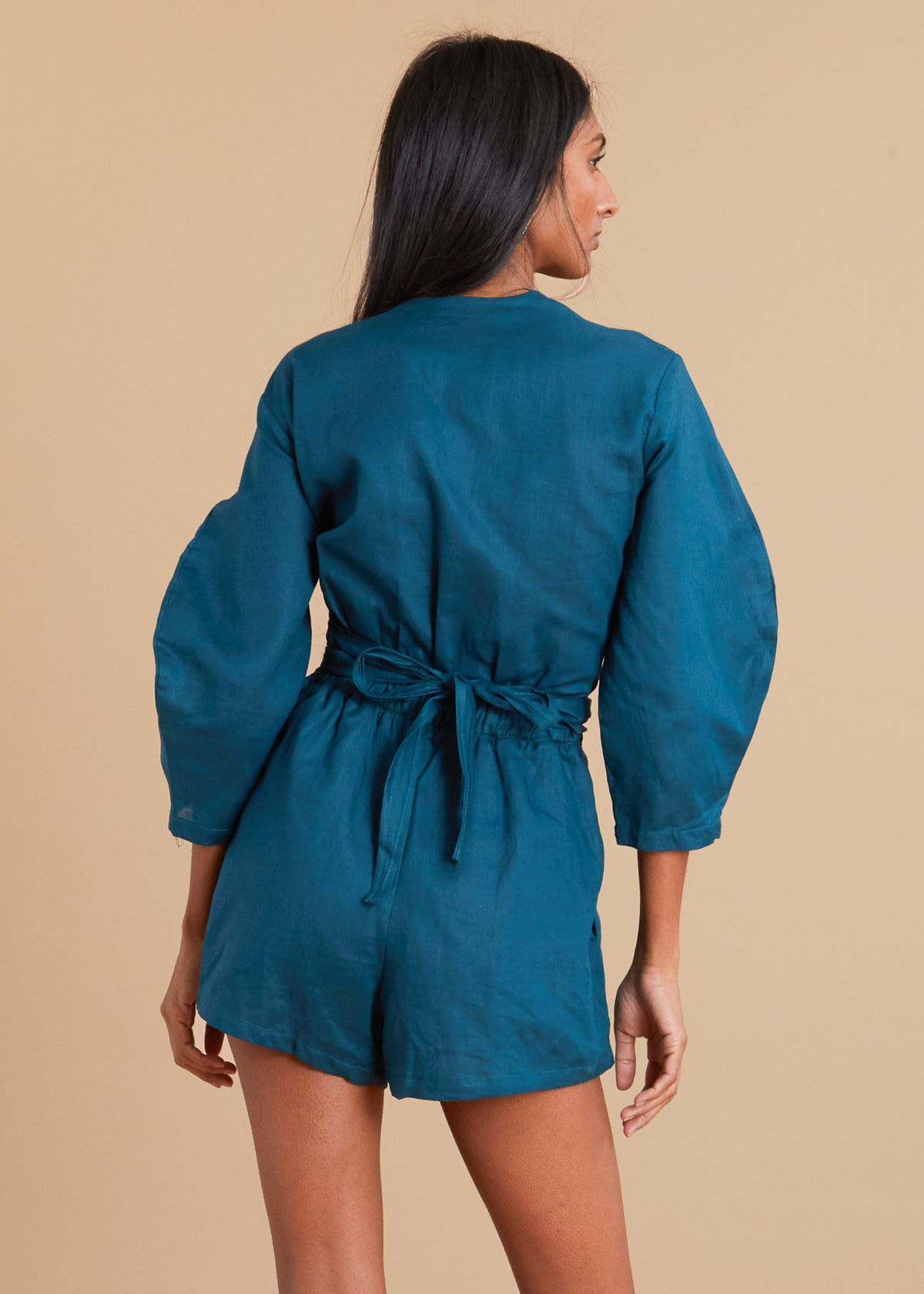 Teal oval long sleeve linen romper