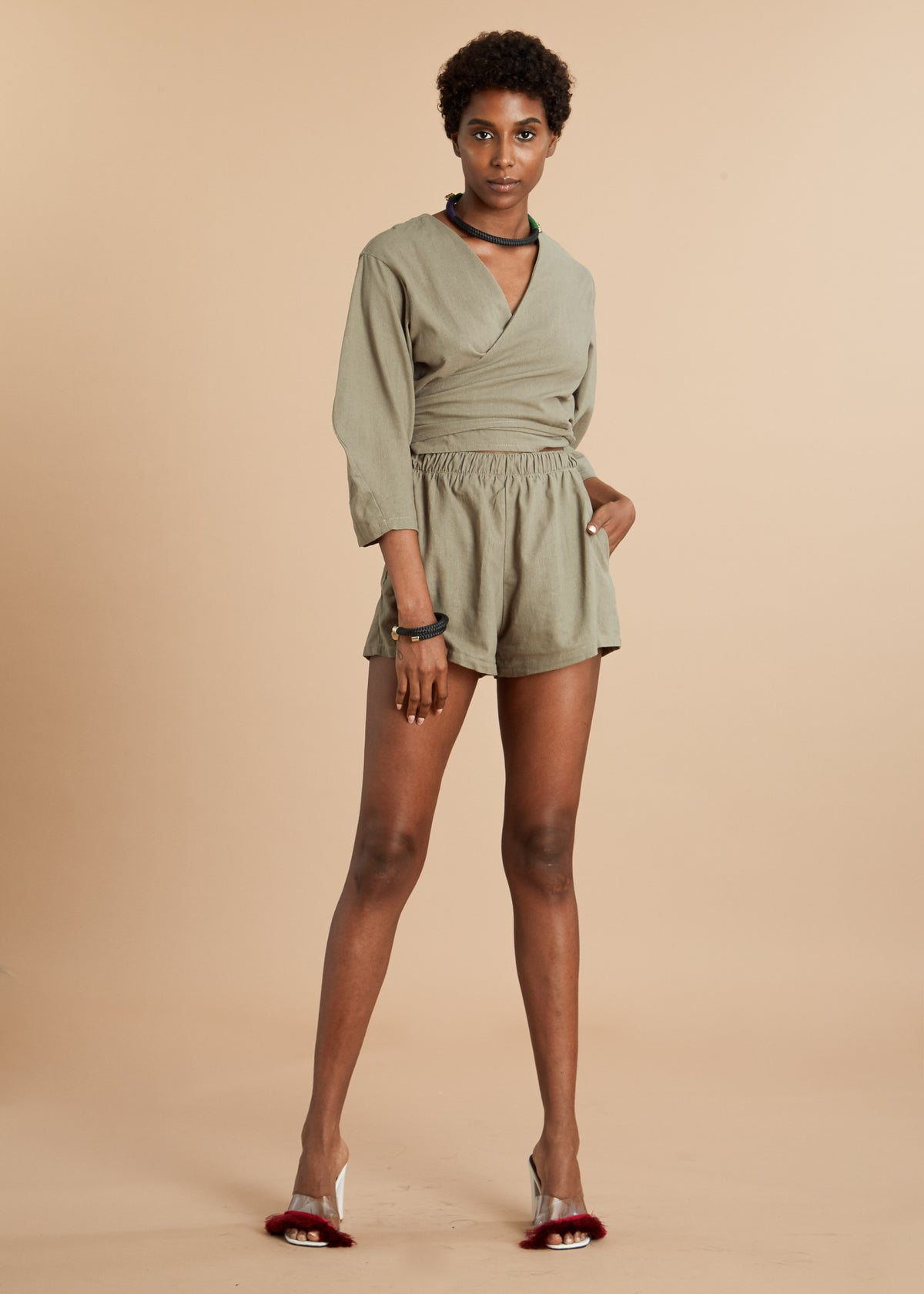 Avocado long sleeve linen romper