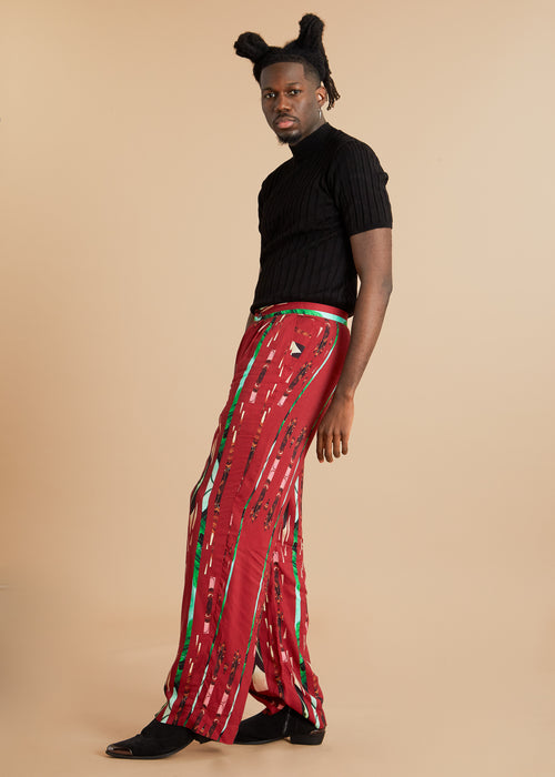 Wide cut red pants with graphic print