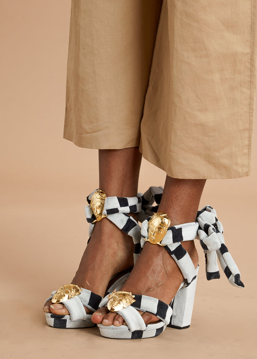 Loza Maleombho white and black stripe high heel sandals