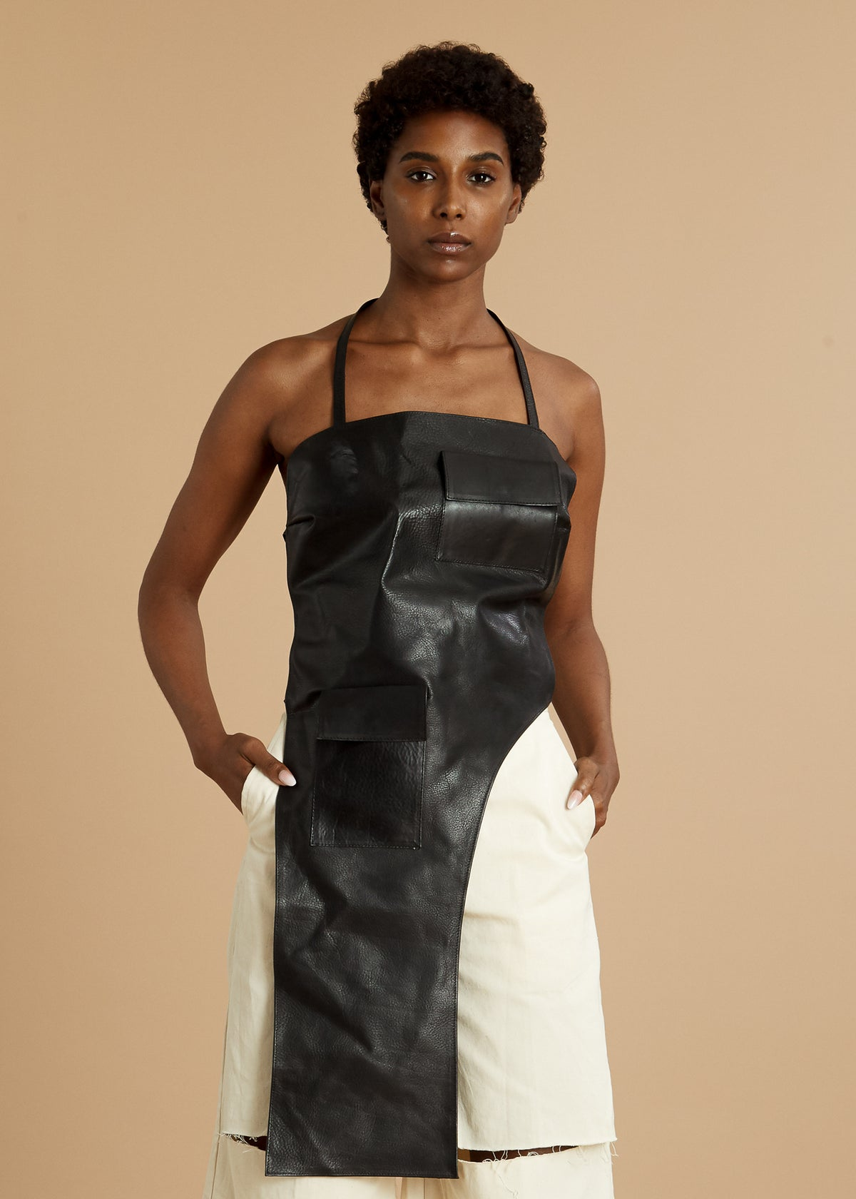 Black leather apron top with open back