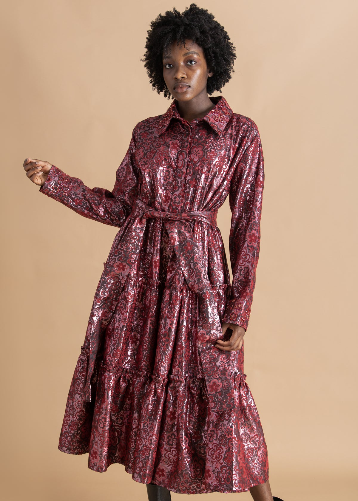 Onalaja Pink mid-length floral jacquard dress