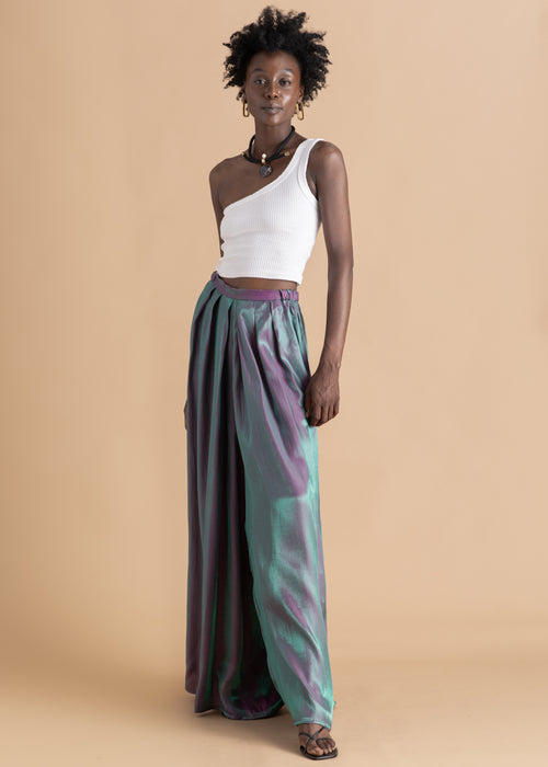Zana Blue Pleated Metallic Pant