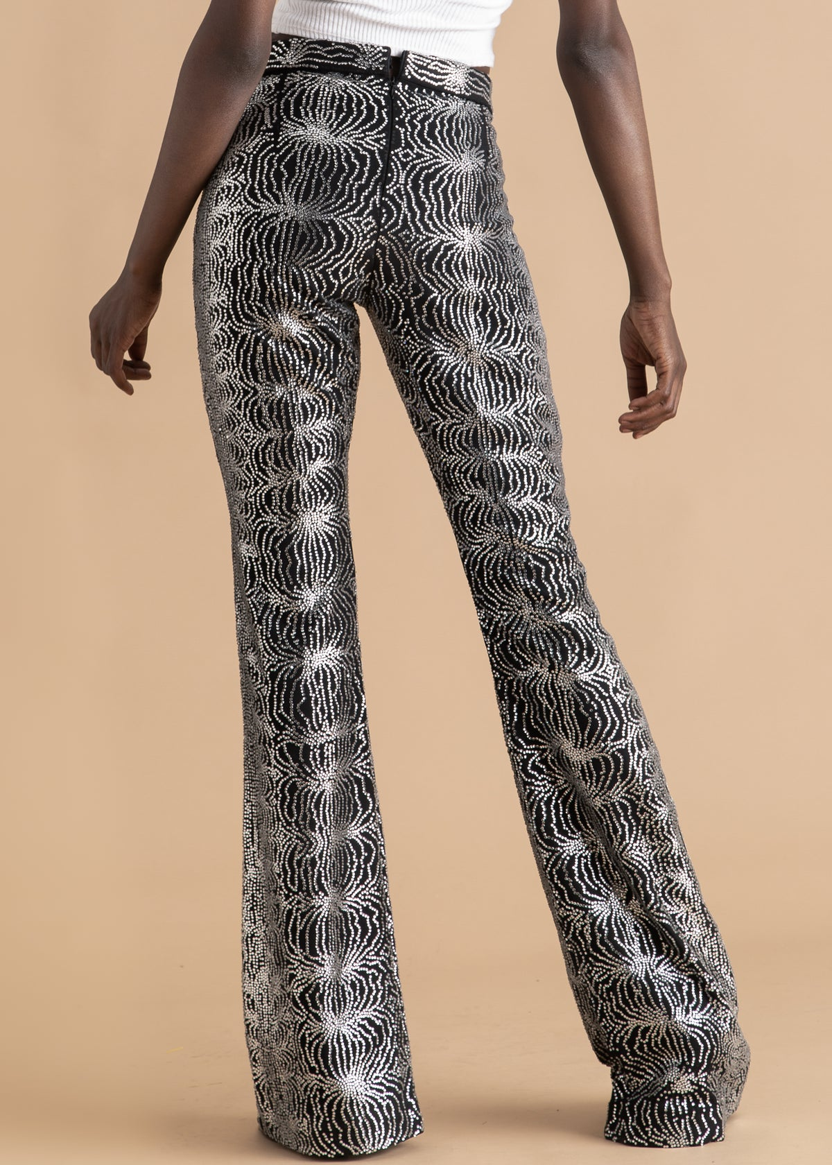 Onalaja Black and silver high-waisted embroidered pant