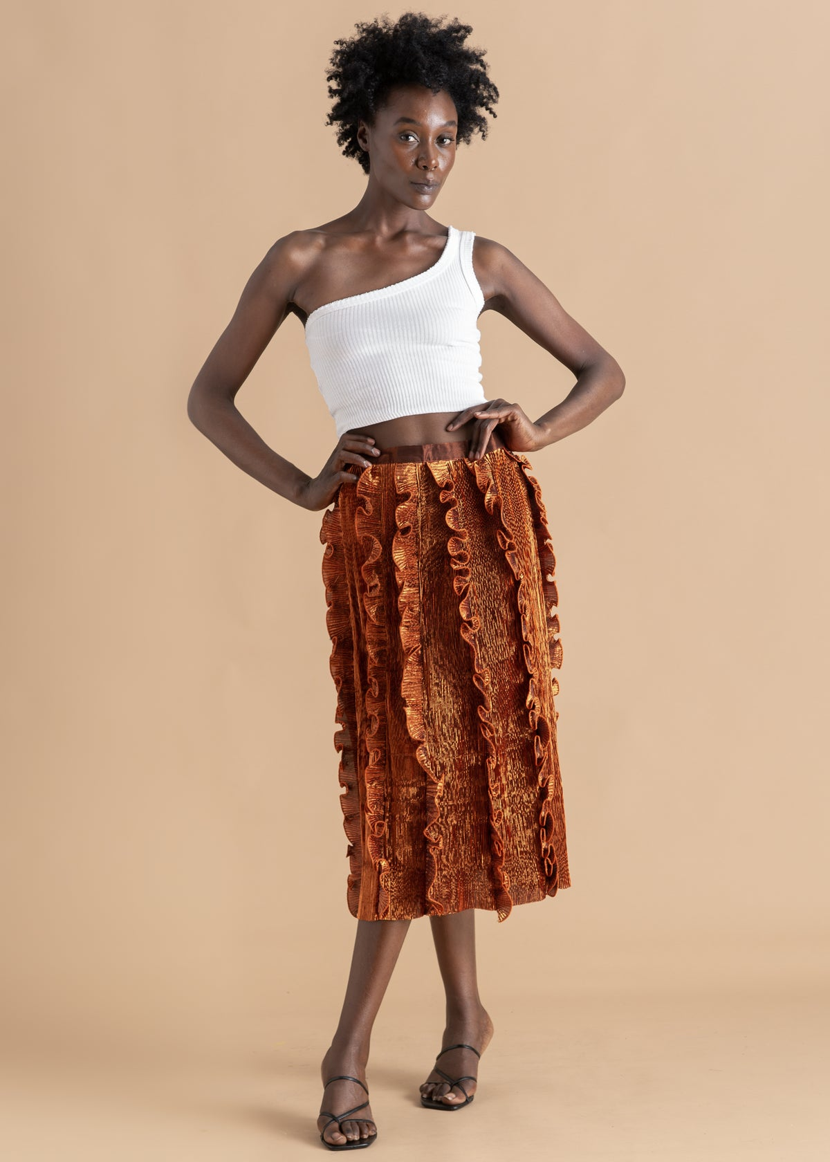 Onalaja Ruffle metallic mid-length skirt