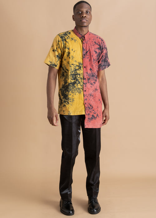 Men's pink and yellow tie dye shirt
