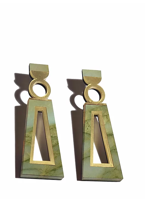 Green Marble Navi Earrings