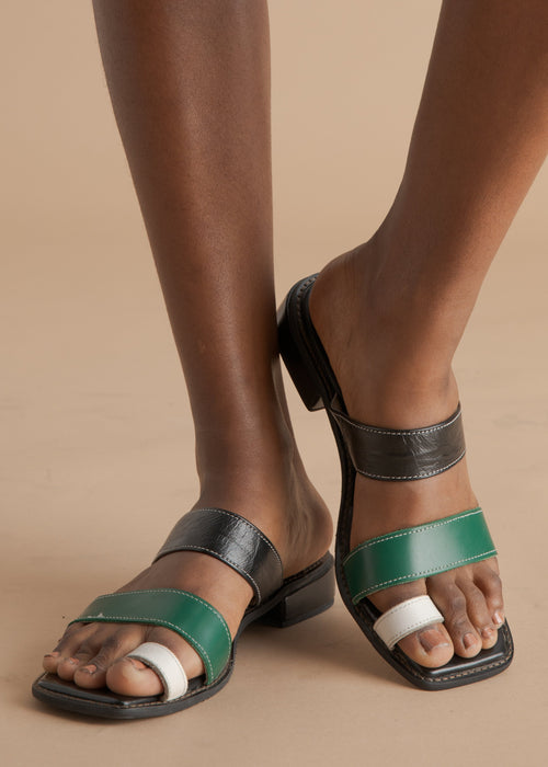 Shekudo handmade green and black leather sandal