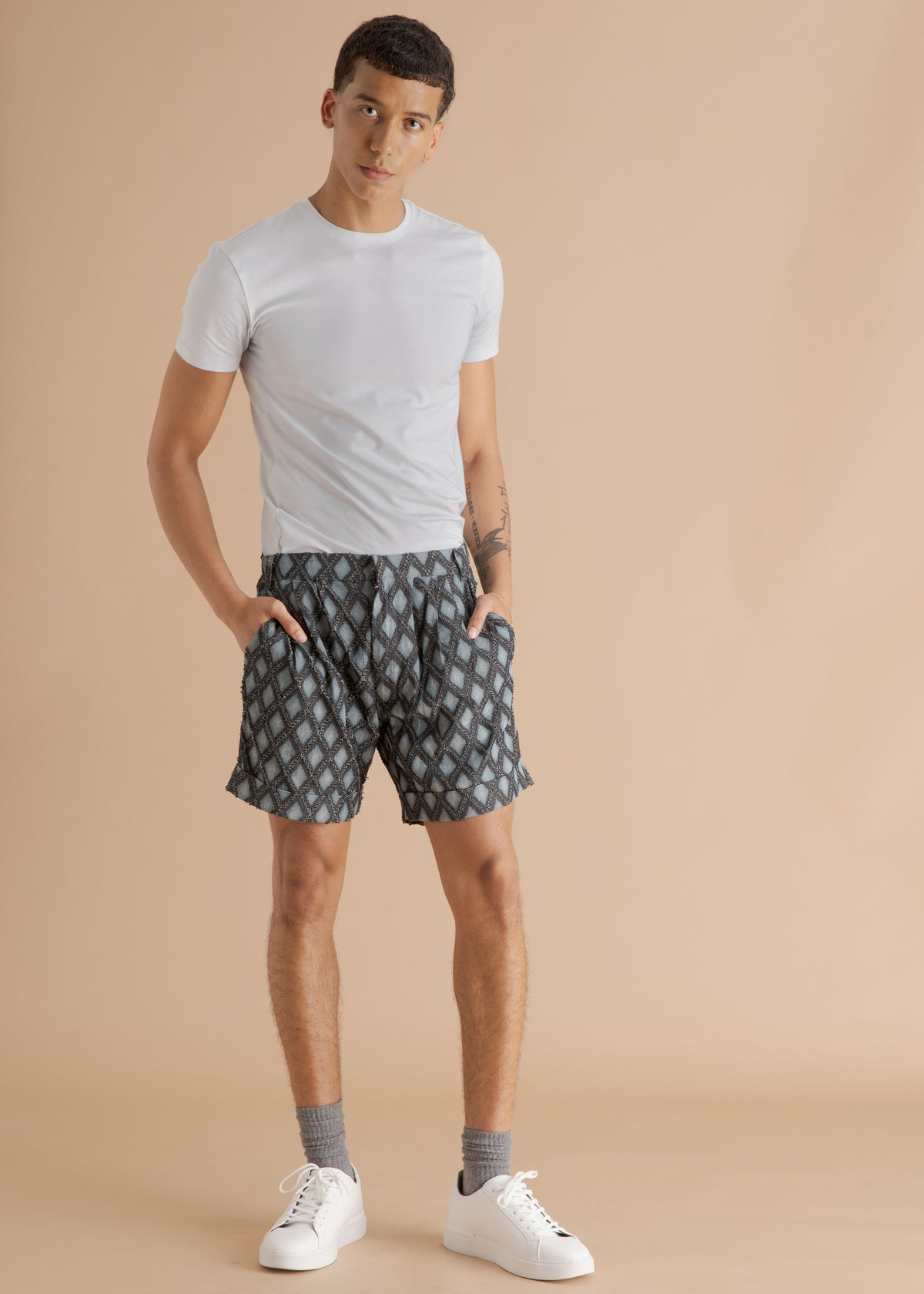 Nicholas Coutts blue printed diamond shorts