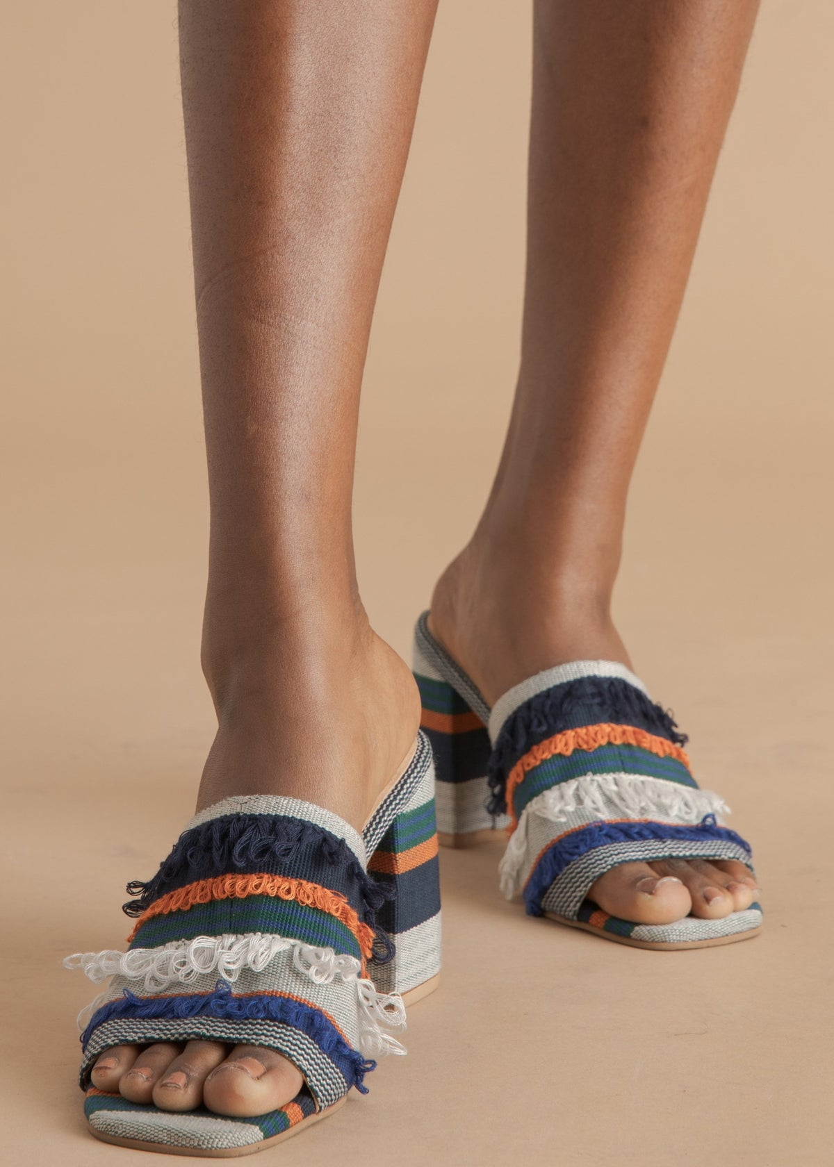 Shekudo colorful woven mule sandals