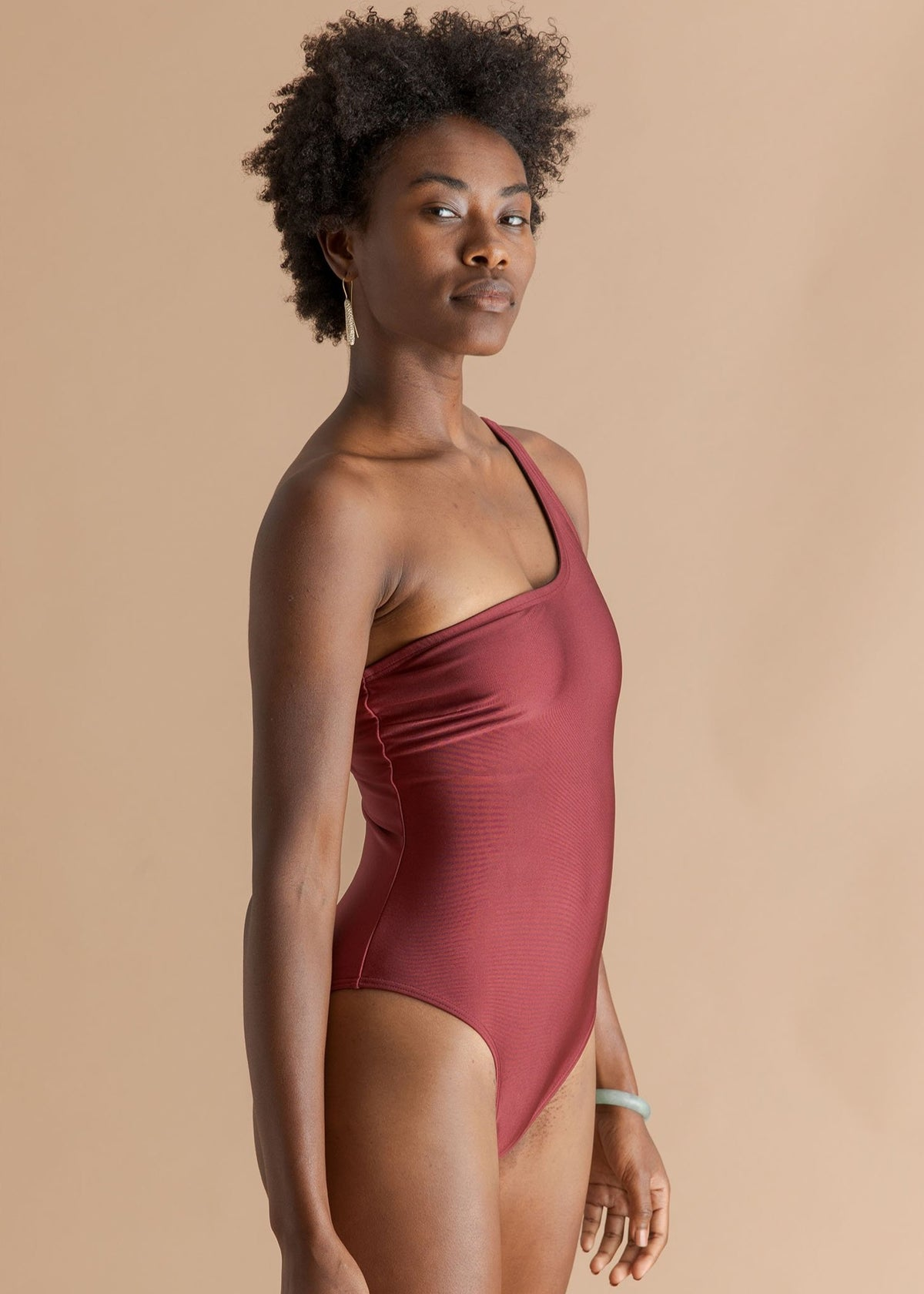 Salt and Sunscreen burgundy one shoulder swimsuit
