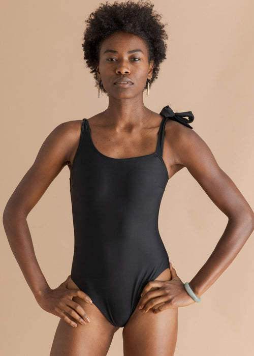 Salt and Sunscreen black tie one piece swimsuit
