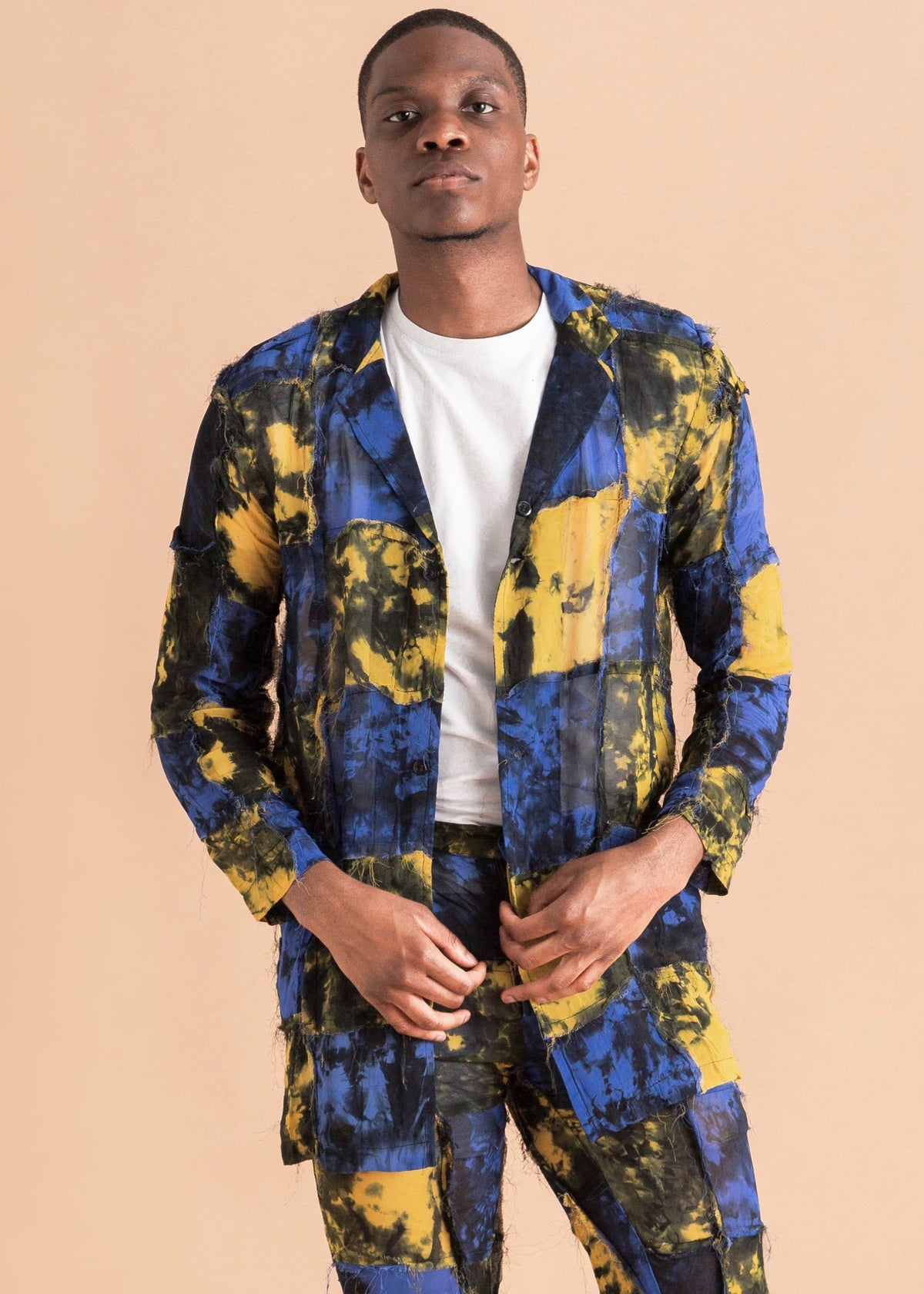 Men's blue and yellow chiffon long sleeve top