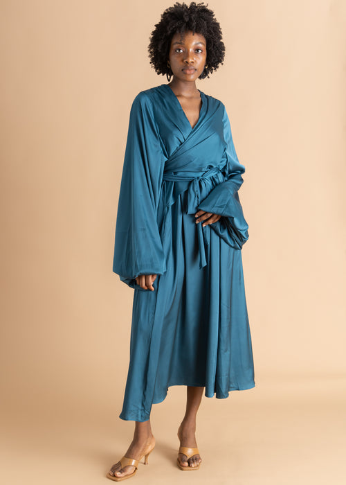 Andrea Iyamah Teal deep v-cut  wrap dress
