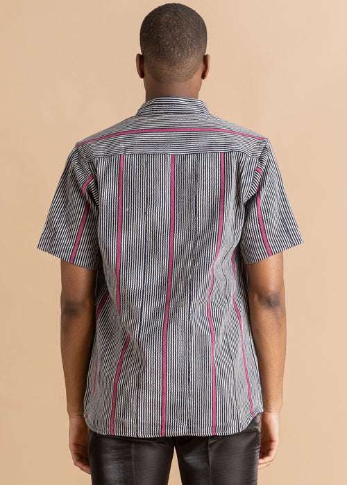Kente Gentlemen Elegant Striped Button Up