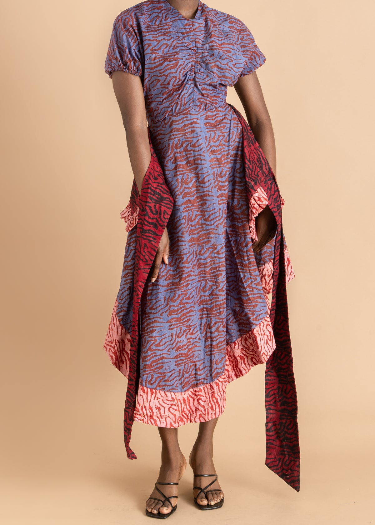 Abiola Olusola red and blue midi dress