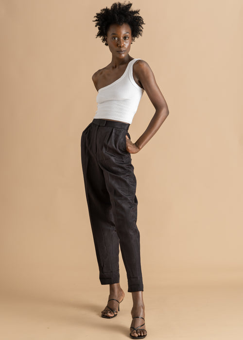 Elle Est... gray high-waisted pencil pant