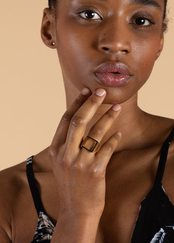 SOKO Open Square Statement Ring