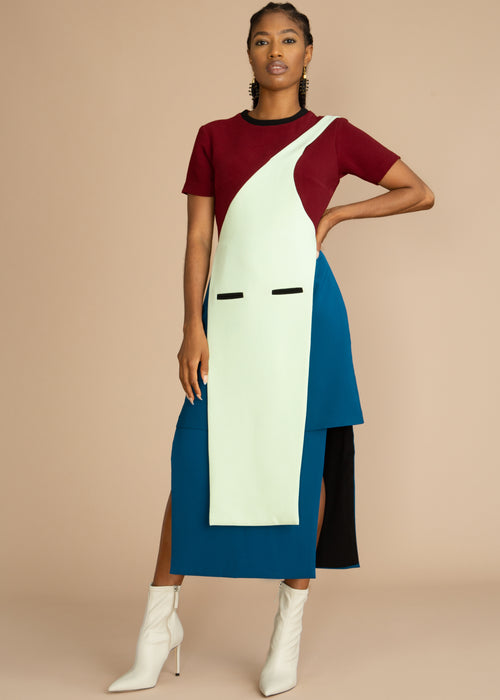 Gozel Green color block blue and red Monostrap Apron Midi Dress