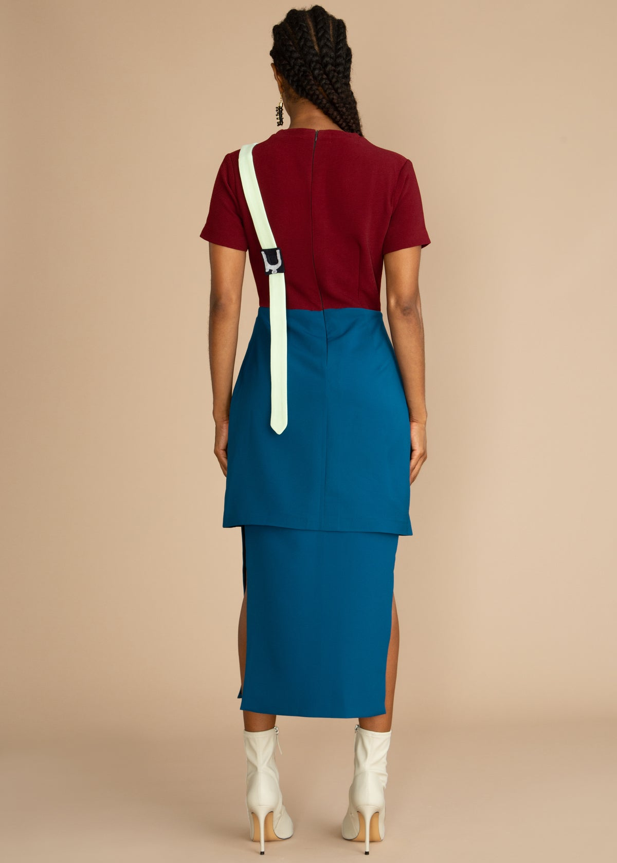 Gozel Green Color Block Blue and Red Midi Dress