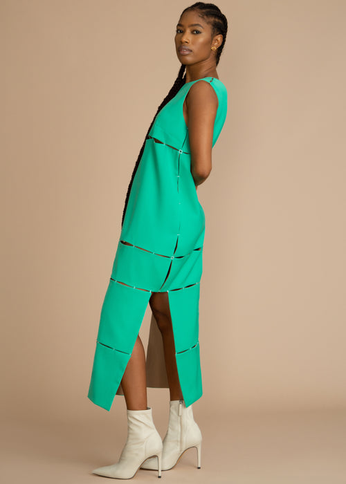 Gozel Green reservable Sleeveless Gash Dress