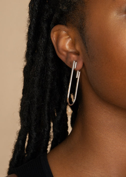 Chalk Silver Detail Drop Earrings