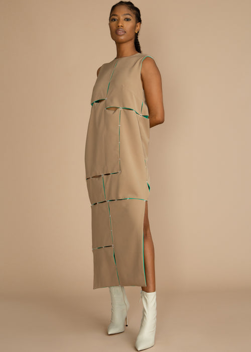 Gozel Green Sleeveless Reservable Midi-Dress