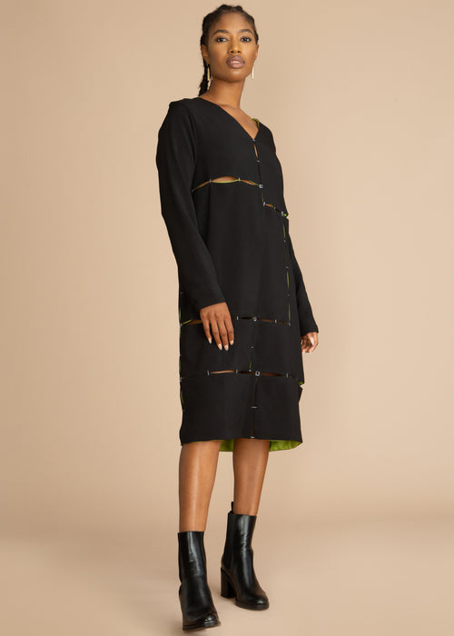 Gozel Green Black Long Sleeve Reversible Midi Dress