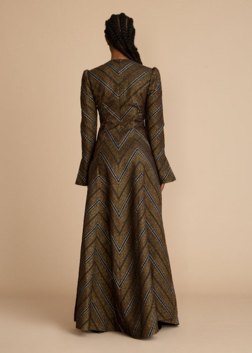 Brown Clan Jacquard Deep Cut Tunic