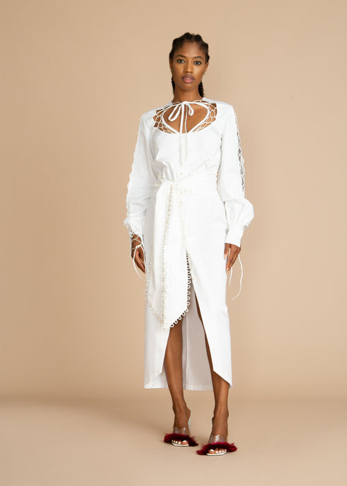 Clan White Poplin Dress with Lace-Up Detail