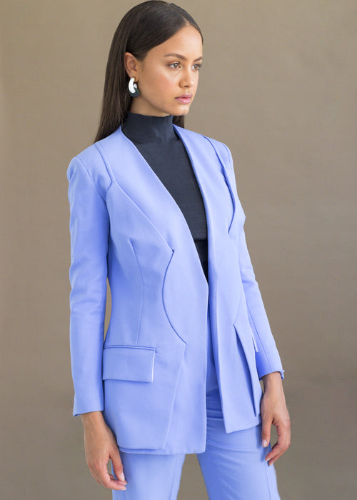 Powder blue structured blazer suit with pockets by MmusoMaxwell.