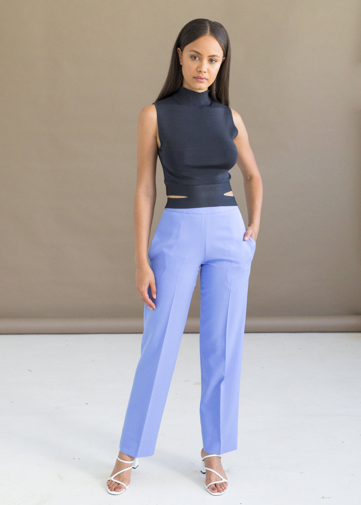 Shop the powder blue straight leg tailored pants with pockets by MmusoMaxwell.