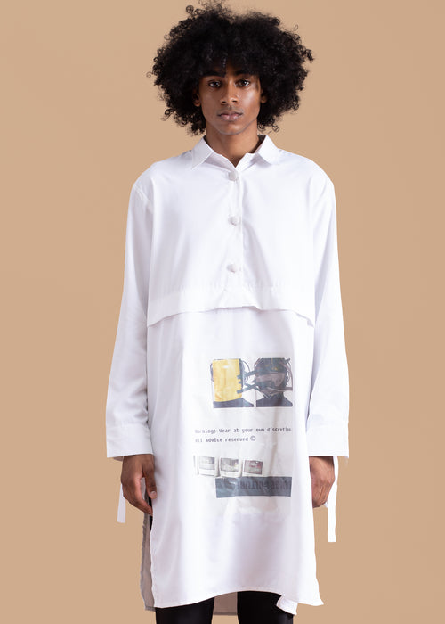 Warning Tunic in White