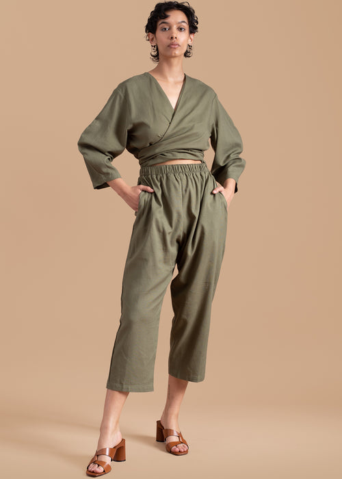 Olive Oval Sleeve Jumpsuit